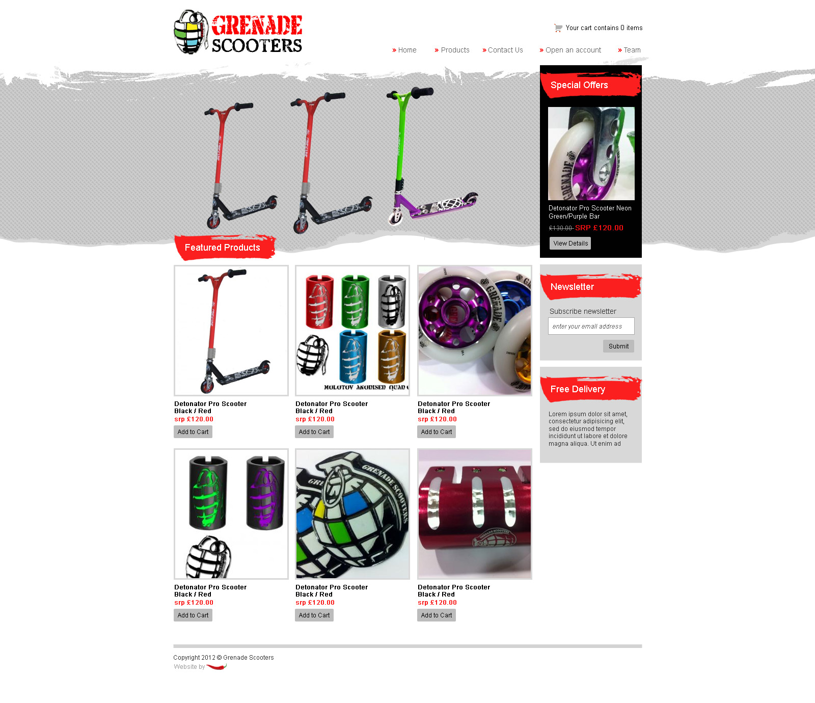 scooters website, ecommerce website, ecom website